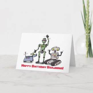 Happy cute robots cartoon birthday card
