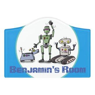 Happy cute robots trio cartoon on blue background door sign