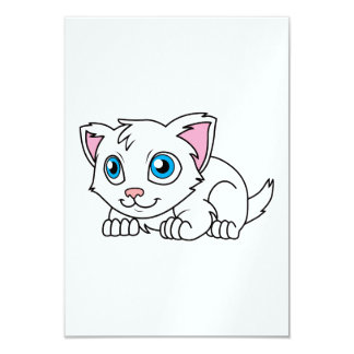 """Happy Cute White Persian Cat with Blue Eyes 3.5"""" X 5"""" Invitation Card"""