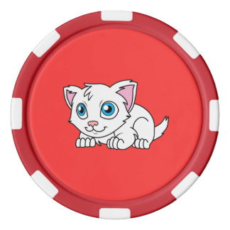 Happy Cute White Persian Cat with Blue Eyes Set Of Poker Chips