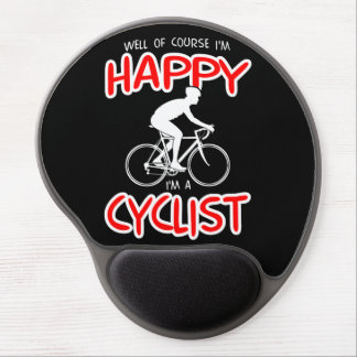 Happy Cyclist (wht) Gel Mouse Mat