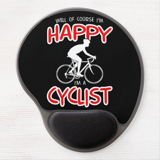 Happy Cyclist (wht) Gel Mouse Mat