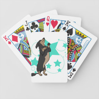 Happy dachshund bicycle playing cards
