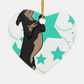 Happy dachshund ceramic heart decoration