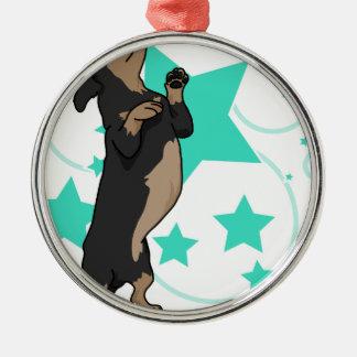 Happy dachshund christmas ornament