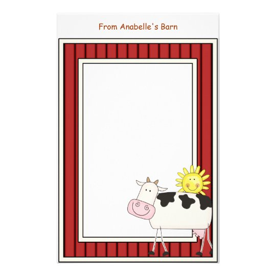 Happy Dairy Cow Barn Red Frame Kids Writing