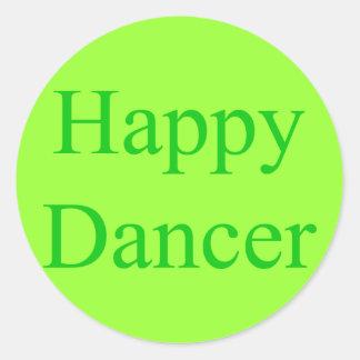 Happy Dancer green Classic Round Sticker