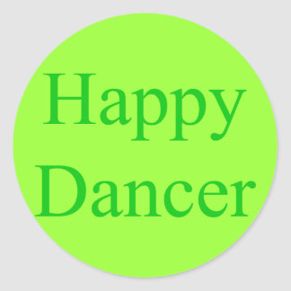 Happy Dancer green Round Stickers