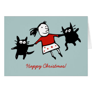 Happy Dancing Cats Christmas Card (Blue)