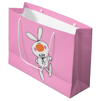 Happy Dancing Cute Cartoon White Rabbit Bunny Large Gift Bag