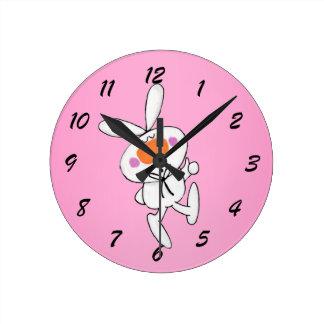 Happy Dancing Cute Cartoon White Rabbit Bunny Round Clock