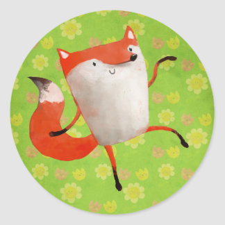 Happy Dancing Fox Classic Round Sticker