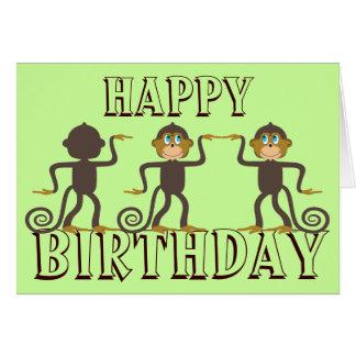 Happy dancing monkeys, birthday greeting card