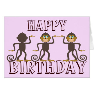 Happy dancing monkeys girly pink birthday greeting card