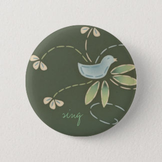 happy day bird, sing 6 cm round badge