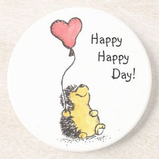 Happy Day Hedgehog Sandstone Coaster