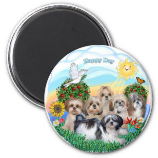 Happy Day with Six Shih Tzus 6 Cm Round Magnet