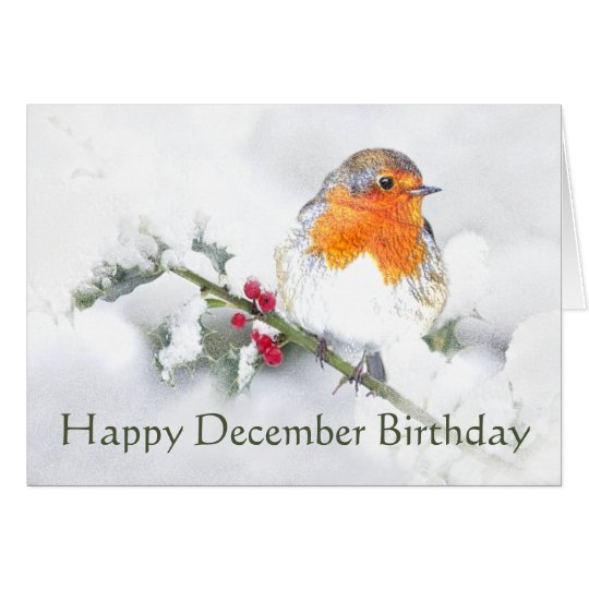 Happy December Birthday English Robin Card