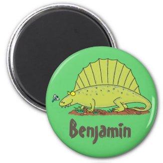Happy dimetrodon dinosaur cartoon magnet
