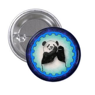 Happy Dining Panda in Blue 3 Cm Round Badge