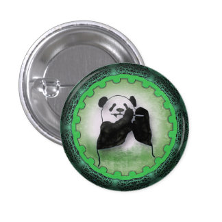 Happy Dining Panda in Green 3 Cm Round Badge