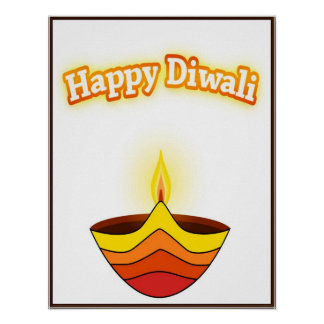 Happy Diwali and Diya Lamp Poster
