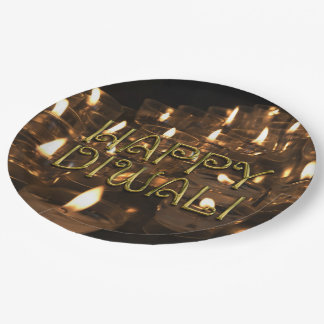 Happy Diwali Candlelight Candles Flame Lights 9 Inch Paper Plate