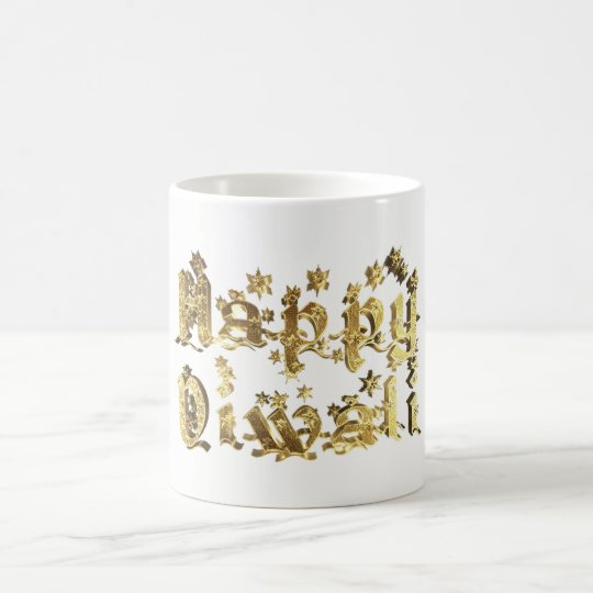 Happy Diwali Decorative Stars Typography Gold Coffee Mug