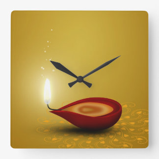 Happy Diwali Diya - Wall Clock