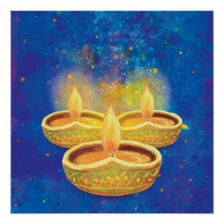 Happy Diwali hand painted illuminating candles