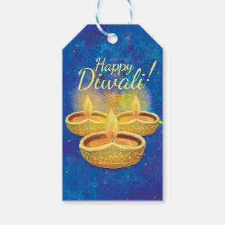 Happy Diwali hand painted illuminating candles Gift Tags