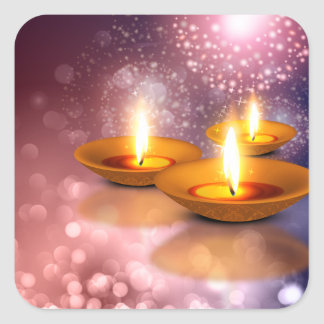 Happy Diwali oil Lamps on glowing fireworks Square Sticker