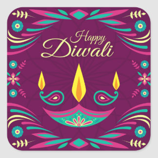 Happy Diwali purple and teal candles illustration Square Sticker