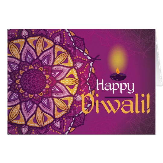 Happy diwali purple ornamental rangoli card