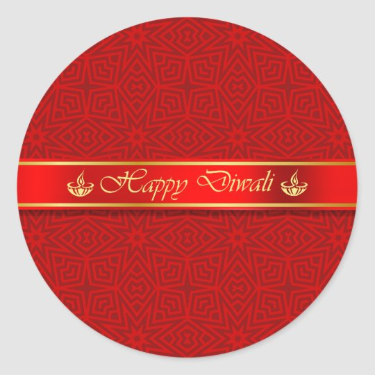 Happy Diwali Silky Ribbon Design Classic Round Sticker
