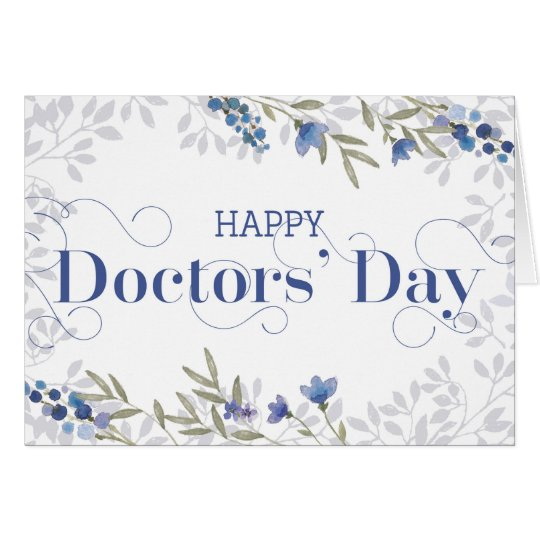 Happy Doctors' Day - Swirly Text and Flowers