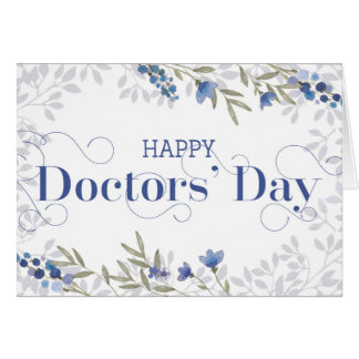 Happy Doctors' Day - Swirly Text and Flowers Blue Greeting Card