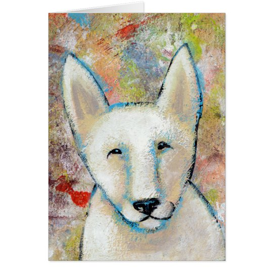 Happy Dog art fun colourful painting of Fred Card