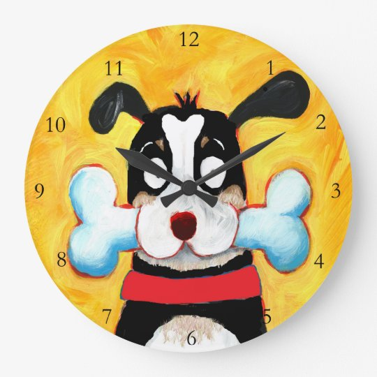 happy dog art large clock
