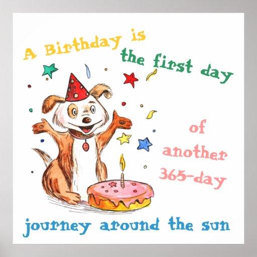 Happy Dog Birthday Cake Poster Lifetime Journey