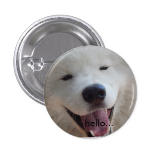 Happy Doggy Badge hello white samoyed photograph