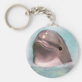 HAPPY DOLPHIN BASIC ROUND BUTTON KEY RING
