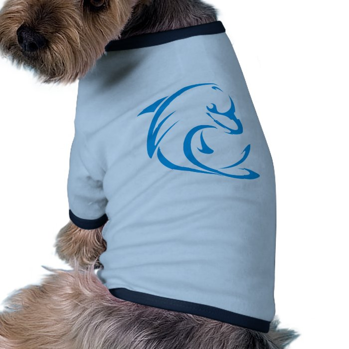 Happy Dolphin in Swing Drawing Style Ringer Dog Shirt