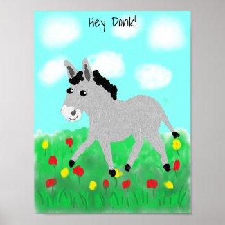 Happy Donkey in Flower Meadow Poster