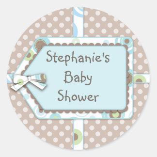 Happy Dots Tag Boy Baby Shower Sticker