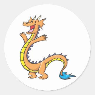 Happy Dragon Cartoon Round Sticker