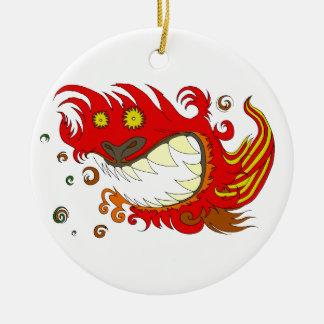 Happy Dragon Round Ceramic Decoration
