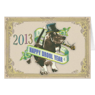 Happy Drool Year (New Years Basset card) Greeting Card