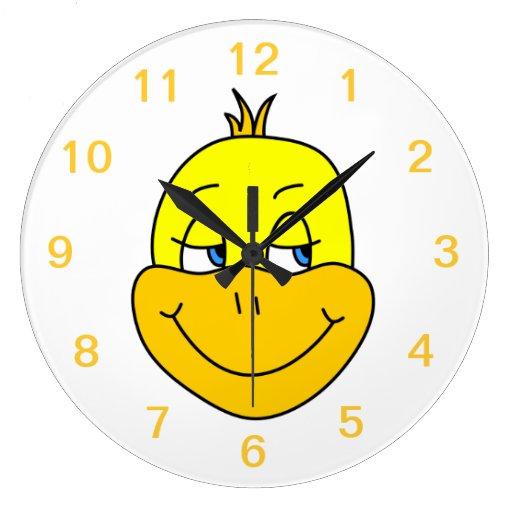 Happy Duck Cartoon Round Wall Clocks Zazzle