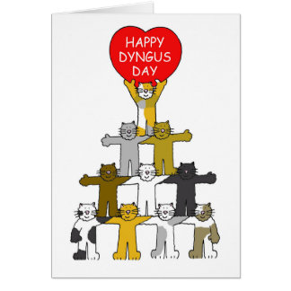 Happy Dyngus Day with romantic cats. Greeting Card